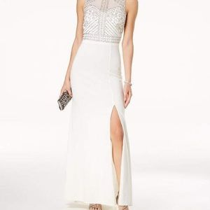 Morgan & Company White Beaded Gown